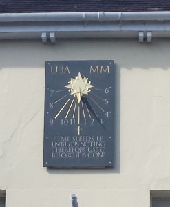 A modern sundial erected by the U3A in Salisbury; time passes too quickly for all of us.