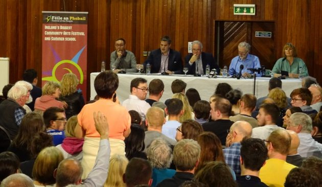 West Belfast Talks Back crowd hand up panel