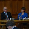 QUB Brexit Charlie Flanagan and Arlene Foster at table