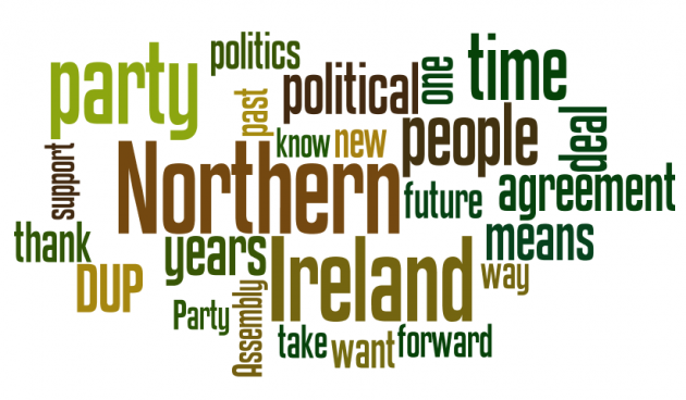 Wordle of Peter Robinson's 2015 conference speech