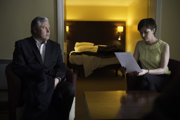 Truth Commissioner Conleth Hill and Joanne Crawford as Johnny Rafferty and Anna Connolly
