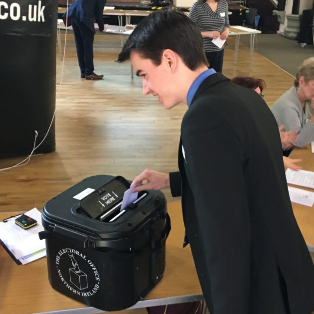 Dropping ballot in box