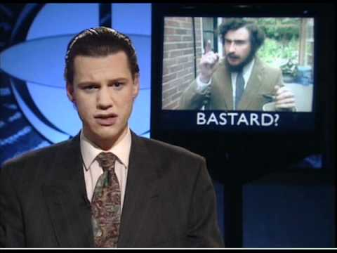 On The Hour's Chris Morris in its 1994 TV Version The Day Today, with (inset) Steve Coogan as a Sinn Fein spokesman