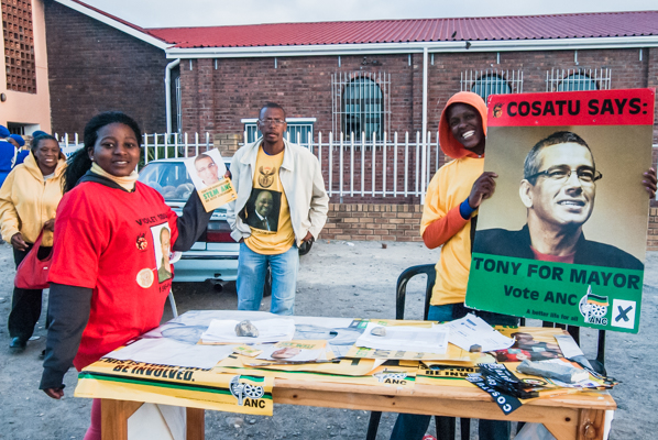 ANC activists campaign in one of their Cape Town strongholds, Gugulethu, in 2011.