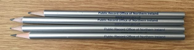 Public Records Office of Northern Ireland (PRONI) branded pencils - photo by Alan Meban