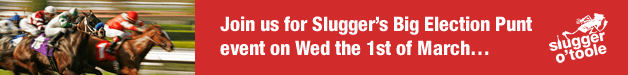 Join us for Slugger's Big Election Punt event on Wed the 1st of March…
