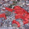 Aerial photograph highlighting extent of proposed demolition of entire Royal Exchange redevelopment in red