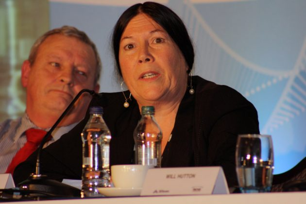 Peter Buntin and Bronagh Hinds answer questions from the audience at NICVA's Centre for Economic Empowerment 'Creating the good economy' conference in Belfast on 8 November 2011