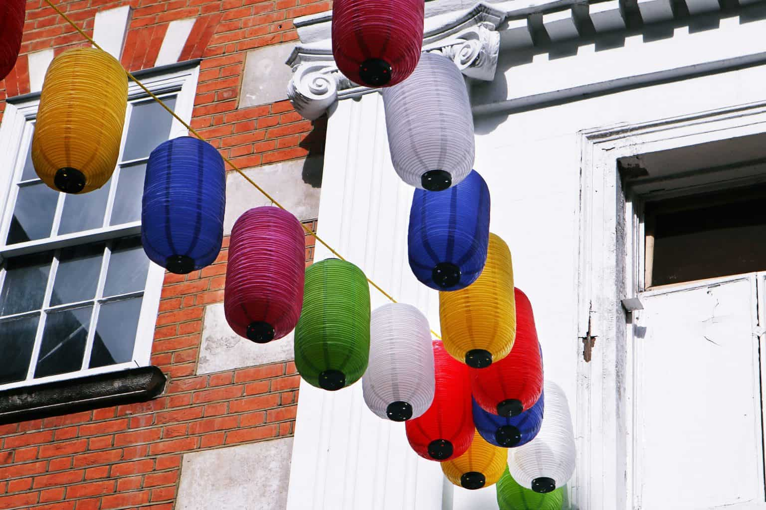 Photo of Lanterns in London Chinatown during COVID-19 Pandemic.
